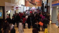 歳末セールで大勢の買い物客が詰めかけたワシントン近郊のショッピングモール