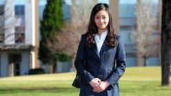 国際基督教大の入学式に臨む秋篠宮家の次女佳子さま=2015年4月2日撮影