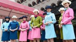 大丸松坂屋百貨店の顧客案内係の新しい制服=2015年2月3日、共同