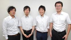 左から、リバネス丸幸弘CEO、メタジェン福田真嗣CEO、同水口佳紀COO、同山田拓司CTO