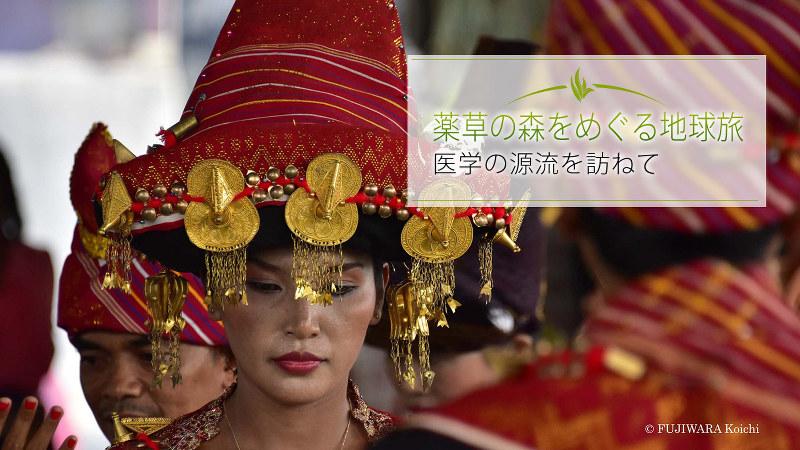 スマトラ島北部に暮らすカロ族。カロ族の結婚式で民族衣装をまとい、胸の上に広げた手を回しながら伝統的な踊りをする新郎新婦