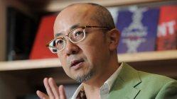 東京五輪エンブレム問題について語る福井健策弁護士=2015年9月3日、猪飼健史撮影