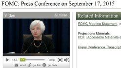連邦公開市場委員会(FOMC)の決定を伝える米連邦準備制度理事会(FRB)のウェブサイト。画像はイエレン議長