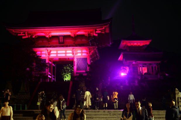 「ピンクリボンキャンペーン」でライトアップされた清水寺の仁王門(左)と三重塔(右奥)=小松雄介撮影