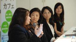 トークイベントに登壇した左から、ツイッタージャパンの斉藤香さん、フェイスブックの日高久美子さん、リンクトインの長谷川玲さん、グーグルのユーチューブ担当・宮家かおりさん