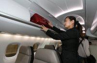 客室内の収容棚には機内持ち込み可能な最大サイズのローラーバッグも収容できる=名古屋市港区のポートメッセなごやで2012年10月9日午後0時20分、佐々木順一撮影