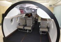 三菱航空機本社にあるMRJの客室模型=名古屋市港区で2014年12月9日、木葉健二撮影