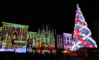 A Christmas tree standing about 36 meters tall is decorated with colorful bulbs lighting up the night sky at Universal Studios Japan in Konohana Ward, Osaka, on Nov. 12, 2015. (Mainichi)