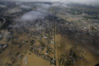 The Mitsukaido district of the city of Joso, Ibaraki Prefecture, is pictured on Sept. 11, 2015, after the area was hit by heavy rain, causing the Kinugawa River to overflow. (Mainichi)