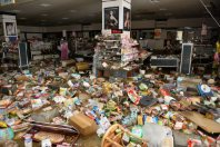The inside of the flooded Apita shopping complex is seen in Joso, Ibaraki Prefecture, on Sept. 11, 2015. (Mainichi)