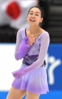 Figure skater Mao Asada smiles after performing at the 2015 Japan Open figure skating competition at Saitama Super Arena, on Oct. 3, 2015. (Mainichi)