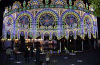 A light installation is seen at Kobe Higashi Yuenchi Park in the city's Chuo Ward, on Dec. 3, 2015. (Mainichi)