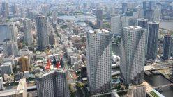 東京都内の高層マンション群=2015年5月、本社ヘリから撮影