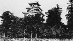 原爆投下により焼失する前の広島城。毛利輝元の築城で、鯉城とも呼ばれた。天守閣は現在、復元されている=1934年6月撮影