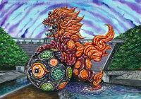 九谷焼の獅子像をモチーフにしたご当地怪獣「クタニャキング」(C)2014ITTSU