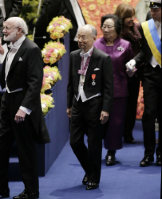 Satoshi Omura, center, enters the venue for the Nobel Prize Award Ceremony in Stockholm, on Dec. 10, 2015. (Pool photo)