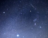オリオン座の近くを流れる、ふたご座流星群の流れ星(右上)。下の星はシリウス=北海道壮瞥町で2015年12月14日午前1時38分、手塚耕一郎撮影