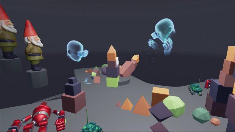 オキュラスのトイボックス。自分の体と手が仮想空間に入り、同じように仮想空間にいる人と直接コミュニケーションをする