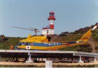 海保に導入された当時のベル212は黄色と青色の塗装だった=海上保安庁提供