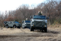 The Ground Self-Defense Force's new transport vehicles are seen at the Somagahara training grounds in Shinto, Gunma Prefecture, on Dec. 17, 2015. (Mainichi)