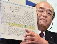 元素周期表の113番元素を指さす理化学研究所の森田浩介グループディレクター=埼玉県和光市で2015年12月31日午後6時、竹内幹撮影