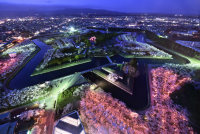 The Goryokaku star fort in Hakodate, Hokkaido, is seen from the observation deck of Goryokaku Tower. The edges of the moat have been lined with some 2,000 light bulbs as part of the fort's winter illumination festival, which runs until Feb. 29, 2016. (Mainichi)