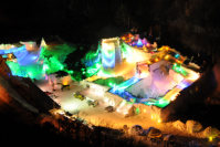 Structures of ice are seen lit up in the Sounkyo hot spring resort in Kamikawa, Hokkaido, as part of the town's 41st