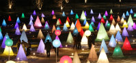 Colored, illuminated cones and spheres are seen during the Tokachigawa Hakucho Festival in Otofuke, Hokkaido. There are about 670 of the little structures in the festival, which runs from Jan. 23 to Feb. 28, 2016. (Mainichi)