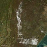 【L】2008年10月30日、米北東部の山脈の積雪=NASA提供