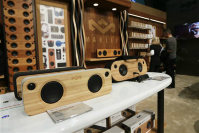 Marley speakers are displayed at CES International on Jan. 6, 2016, in Las Vegas. (AP Photo/Gregory Bull)