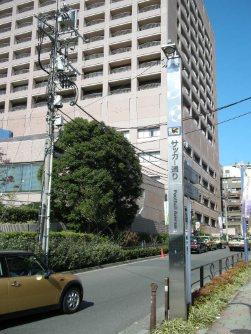 サッカー通り。この道をまっすぐ行くと日本サッカーミュージアムがある=銅崎順子撮影