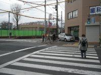 まずは府中街道を渡る=銅崎順子撮影