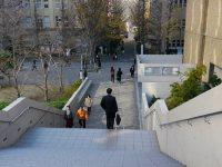 キャンパス内の階段を降る=小座野容斉撮影