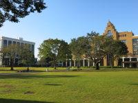 大学会館と大学のシンボルタワーの第二講義棟の間を抜けると広い芝生広場が。緑豊かなキャンパスでは、四季折々の風情が楽しめる=中根正義撮影