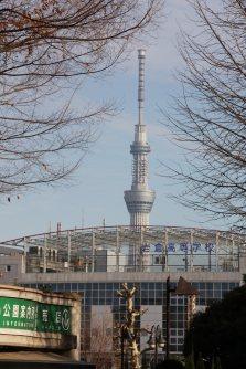 上野公園入り口そばの案内所から東京スカイツリーが見える=江刺弘子撮影