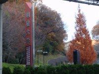 道路左側には中央大学のお隣の明星大学の入り口看板が見える