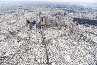 積雪で一面白く染まった東京。中央は新宿のビル群=東京都新宿区で2016年1月18日午後2時37分、本社ヘリから喜屋武真之介撮影