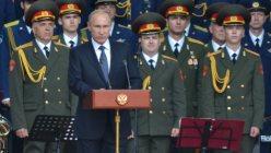 軍拡計画について演説するロシアのプーチン大統領=2015年6月、杉尾直哉撮影
