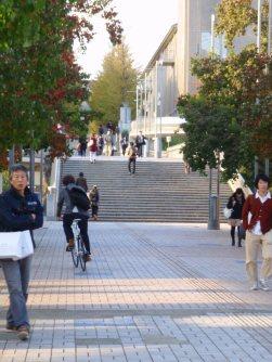 大学正門前の階段付近=仲村隆撮影