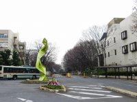 正門前ロータリーには透かし模様がかわいらしいモニュメント。キャンパス内にはやっぱりケヤキ並木=浜田和子撮影