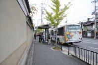 通りにはバス停=2014年11月6日、垂水友里香撮影