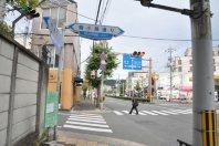 鞠小路通りを横切って=2014年11月6日、垂水友里香撮影