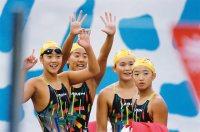 【1992バルセロナ五輪】女子400メートルメドレーリレーは日本は7位入賞。(左から)千葉すず、肥川葉子、漢人陽子、岩崎恭子=伊藤俊文撮影