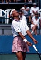 【1996アトランタ五輪】テニス女子シングルス準々決勝で惜しくも敗れた伊達公子。。写真は準決勝進出を逃した瞬間=岡本義彦撮影