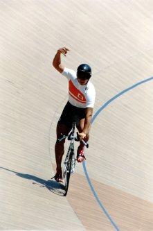 【1996アトランタ五輪】自転車男子1000メートルタイムトライアルで十文字貴信が銅メダル=関口純撮影