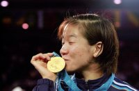 【2000シドニー五輪】試合後のインタビューで金メダル獲得を「ようやく初恋の人に出会えた」と喜びを表現した=川田雅浩撮影