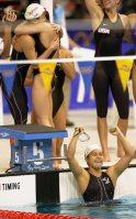 【2000シドニー五輪】日本は競泳女子400メートルメドレーリレー銅メダル。女子が五輪リレー種目でメダルを取ったのは初めて=大西達也撮影
