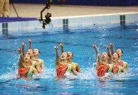 【2000シドニー五輪】シンクロナイズドスイミング・チームで日本は「火の鳥」をテーマに演技し銀メダル=川田雅浩撮影
