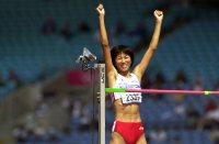 【2000シドニー五輪】陸上走り高跳び女子、3回目に1メートル94をクリアし、喜ぶ太田陽子。11位に=岩下幸一郎撮影
