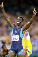 【2000シドニー五輪】マイケル・ジョンソン(米国)は陸上400メートルで金メダルを獲得、400メートルリレーと合わせ2冠達成=大西達也撮影